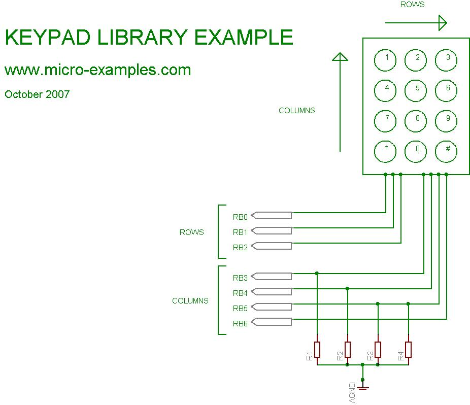 Keypad library schematic example