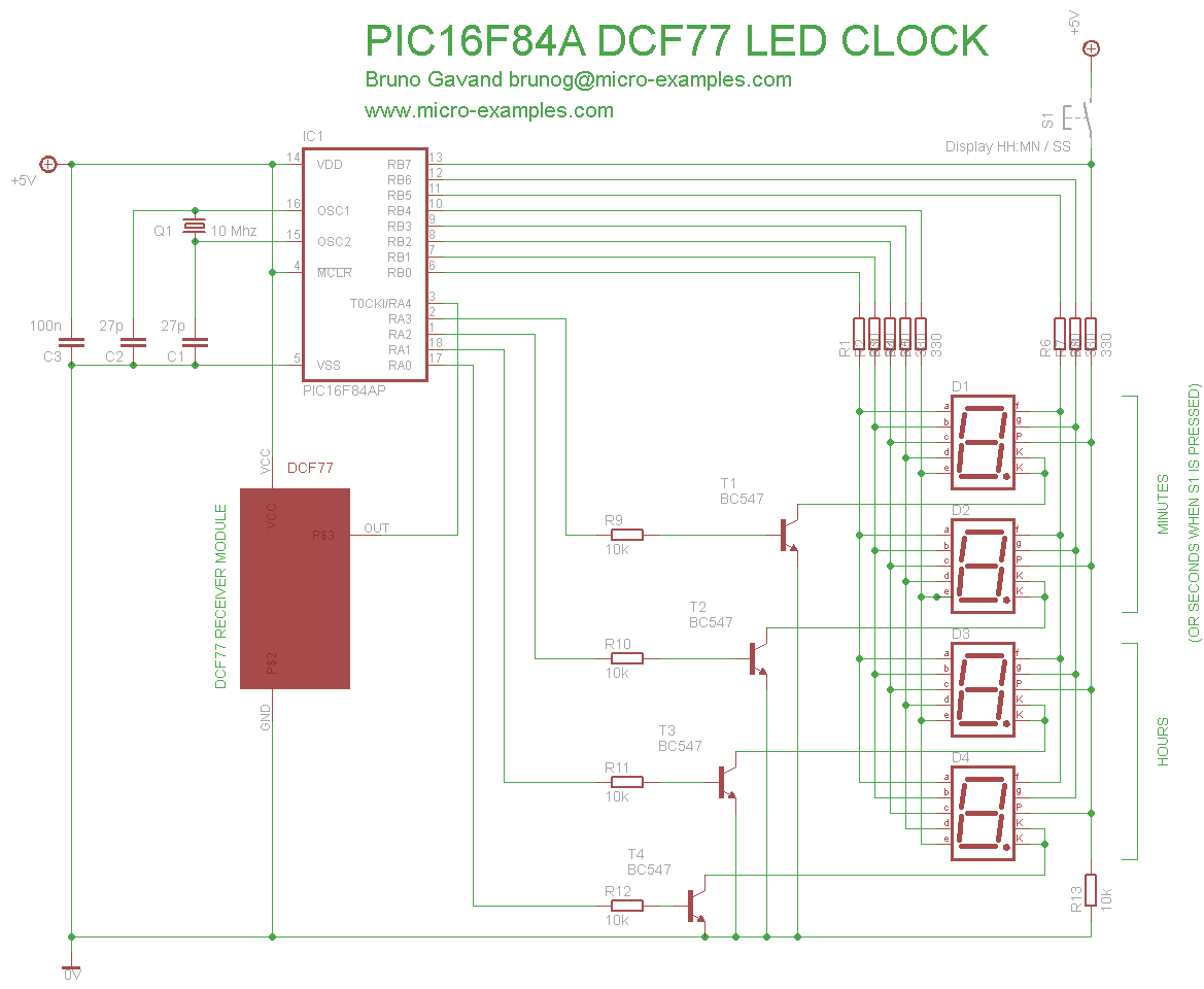 Dcf 77 Pic Led Clock Audio Kit Digital Thermometer With Pic16f84 Circuit Here Is The Equivalent Schematic Clic To Enlarge