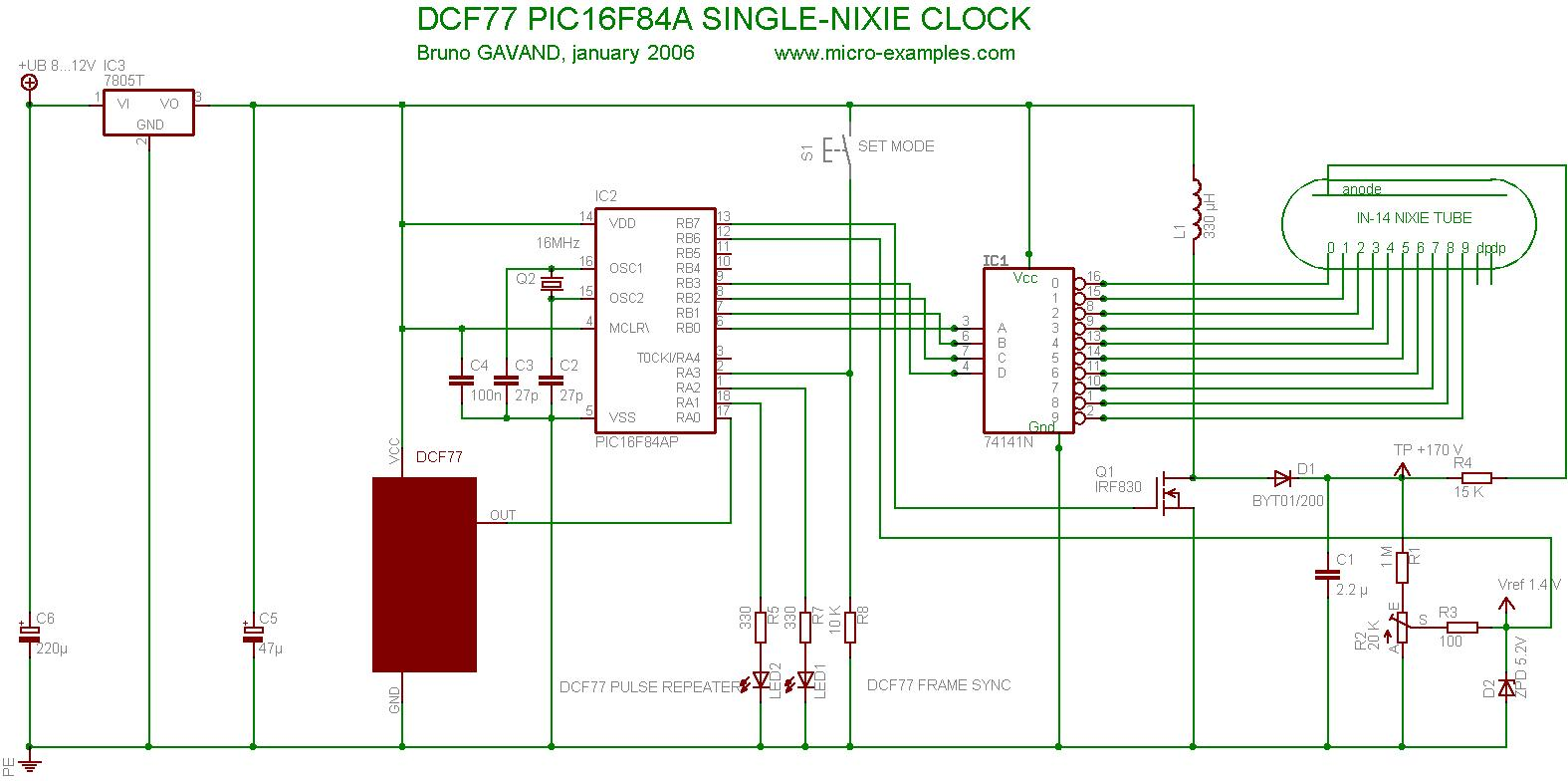 Single Tube Nixie Clock 5v 2a Power Supply Schematic Free Download Wiring Diagram Pic16f84a Dcf77 Circuit